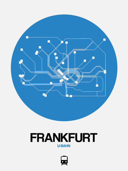 Wall Art - Digital Art - Frankfurt Blue Subway Map by Naxart Studio