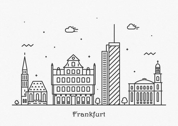 Landmark Center Drawing - Frankfurt Cityscape Travel Poster by Inspirowl Design