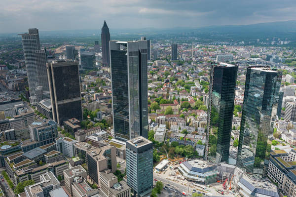 Central Business District Wall Art - Photograph - Frankfurt Downtown Skyscrapers Aerial by Fotovoyager