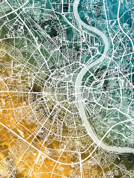 Main Street Wall Art - Digital Art - Frankfurt Germany City Map by Michael Tompsett
