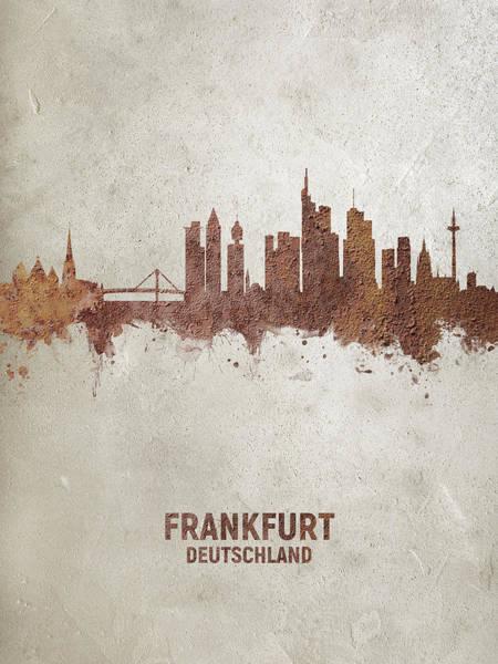 Frankfurt Wall Art - Digital Art - Frankfurt Germany Rust Skyline by Michael Tompsett