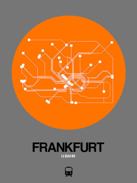 Wall Art - Digital Art - Frankfurt Orange Subway Map by Naxart Studio