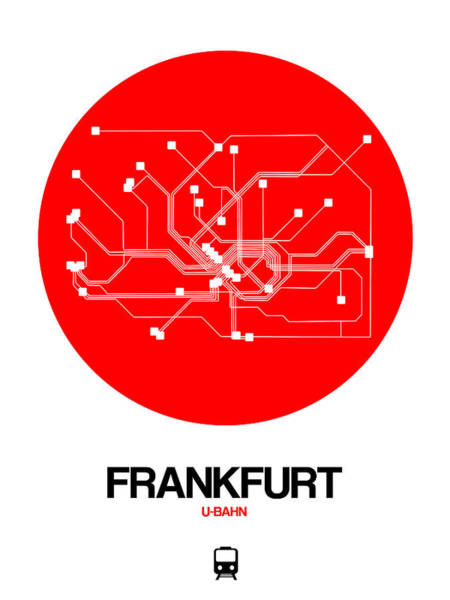 Wall Art - Digital Art - Frankfurt Red Subway Map by Naxart Studio