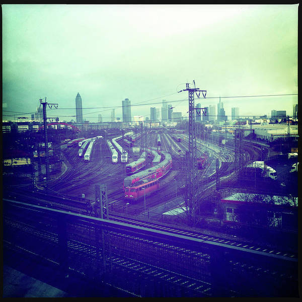 Wall Art - Photograph - Frankfurt Skyline And Trains by Ixefra