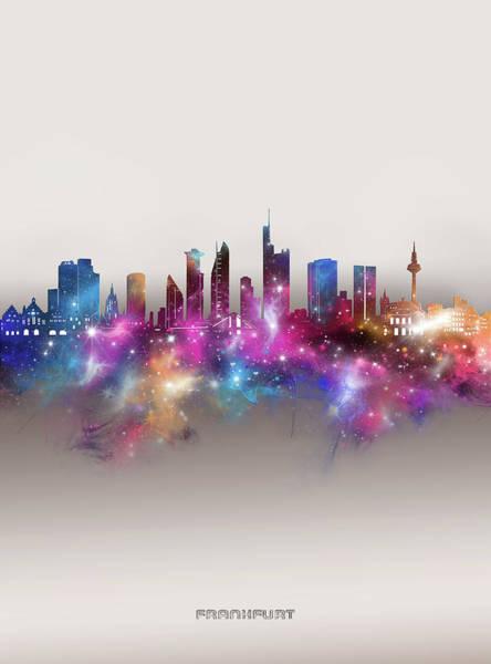 Wall Art - Digital Art - Frankfurt Skyline Galaxy by Bekim M