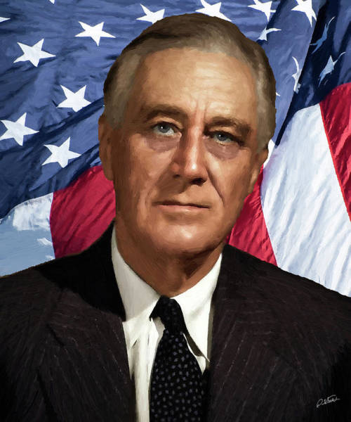 Fdr Painting - Franklin D. Roosevelt - Dwp191205002 by Dean Wittle
