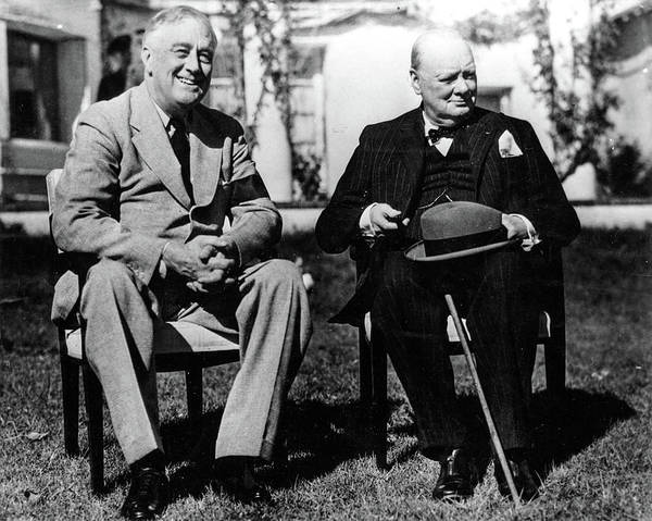 Wall Art - Painting - Franklin D. Roosevelt With Winston Churchill At The Casablanca Conference by English School