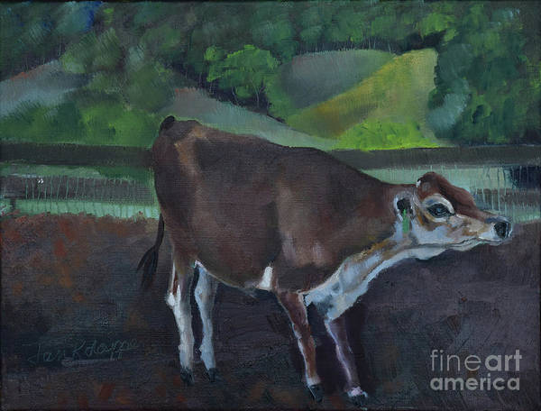 Painting - Franks Cow - Mountain Valley Farms by Jan Dappen