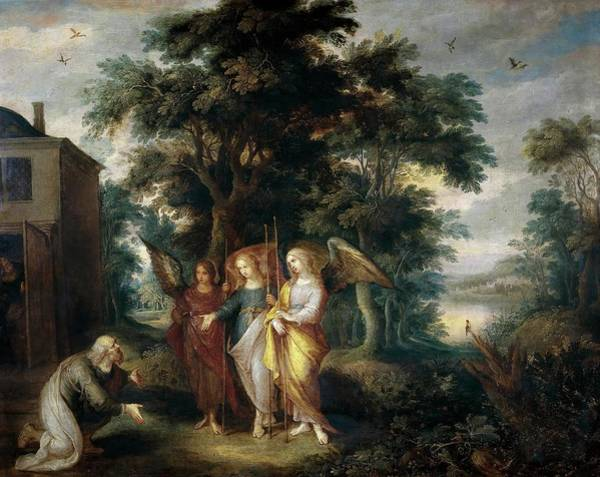 Angel Oak Painting - Frans II Francken / 'abraham And The Three Angels', Flemish School, Oil On Copper. by Frans Francken II the Younger -1581-1642-