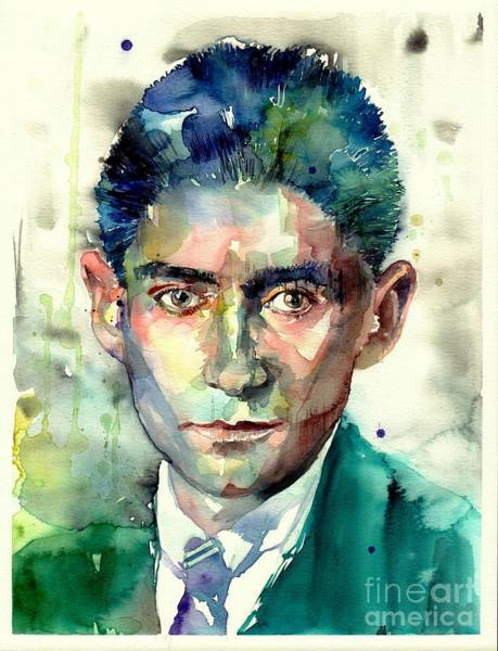 Trial Wall Art - Painting - Franz Kafka Portrait by Suzann Sines