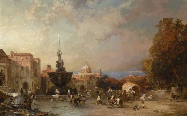 Wall Art - Painting - Franz Richard Unterberger 1837 - 1902   A Market In Naples by Franz Richard Unterberger
