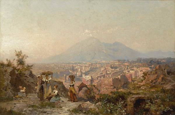 Wall Art - Painting - Franz Richard Unterberger 1837 - 1902   Maidens On A Hill Overlooking Pompeii, Vesuvius Beyond by Franz Richard Unterberger