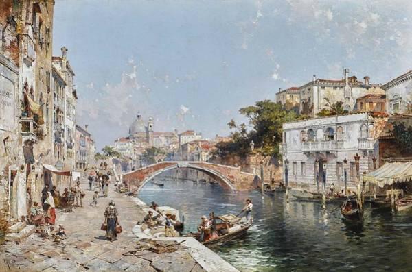 Wall Art - Painting - Franz Richard Unterberger 1837 - 1902   Rio Dei Ognissanti With Santa Maria Del Rosario, Venice by Franz Richard Unterberger