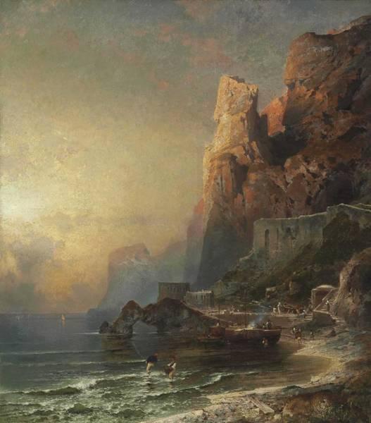 Wall Art - Painting - Franz Richard Unterberger Austrian, 1837-1902 Gulf Of Salerno by Franz Richard Unterberger