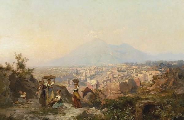 Wall Art - Painting - Franz Richard Unterberger Figures On A Hill Overlooking Pompeii by Franz Richard Unterberger