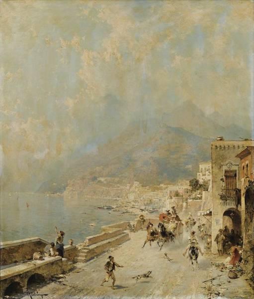 Wall Art - Painting - Franz-richard Unterberger   View Of The Amalfi Coast by Franz-Richard Unterberger