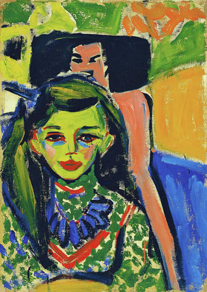 Wall Art - Painting - Franzi In Front Of Carved Chair - Digital Remastered Edition by Ernst Ludwig Kirchner