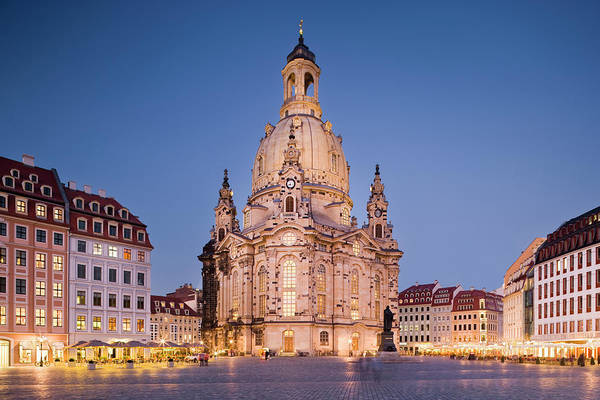 Town Square Wall Art - Photograph - Frauenkirche At Dusk by Jorg Greuel