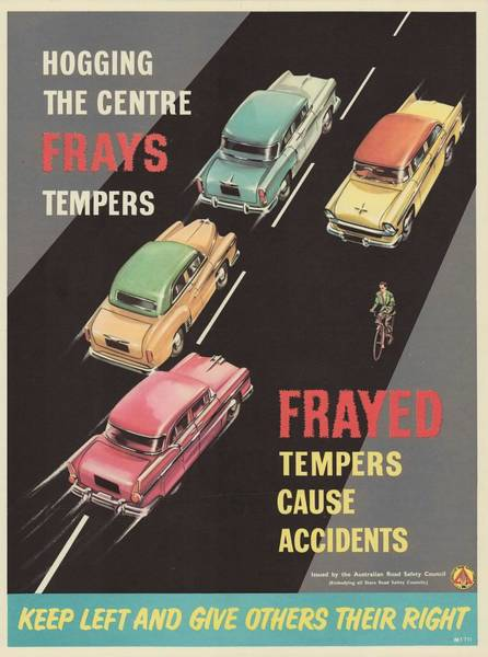Wall Art - Painting - Frayed Tempers Cause Accidents  Road Safety Poster Circa 1939  1959 by Celestial Images