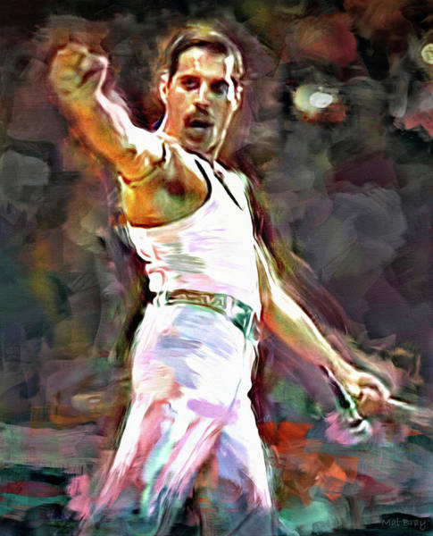 Wall Art - Mixed Media - Freddie At Live Aid by Mal Bray