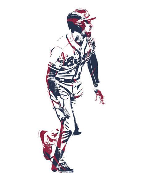Wall Art - Mixed Media - Freddie Freeman Atlanta Braves Pixel Art 1 by Joe Hamilton