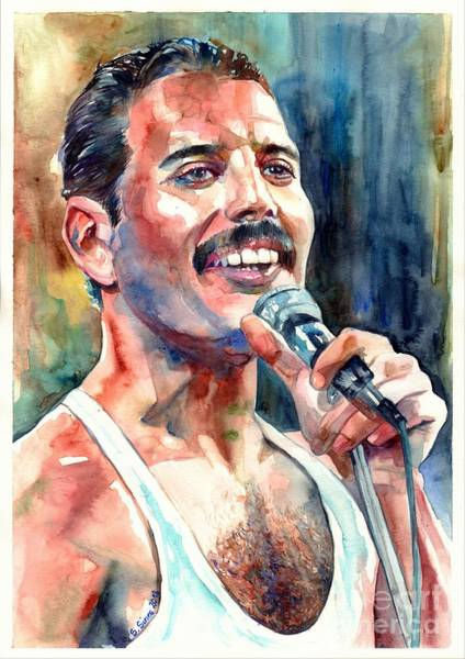 Shower Curtain Painting - Freddie Mercury Live Aid by Suzann Sines