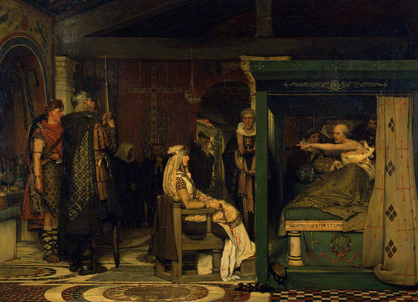 Wall Art - Painting - Fredegund By The Deathbed Of Bishop Praetextatus by Lawrence Alma-Tadema