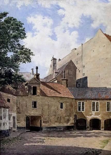 Wall Art - Painting - Frederic Vermehren 1823-1910 Copenhague De La Cour Du Manoir Thott Sur Kongens Nytorv From The Court by Celestial Images