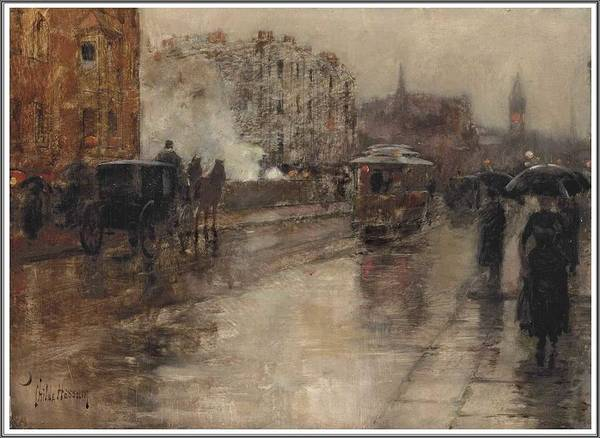 Wall Art - Painting - Frederick Childe Hassam  1859-1935 Rainy Day, Boston - 1886 by Frederick Childe Hassam