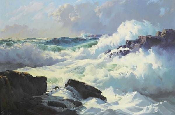 Wall Art - Painting - Frederick Judd Waugh  Breaking Surf  by Celestial Images