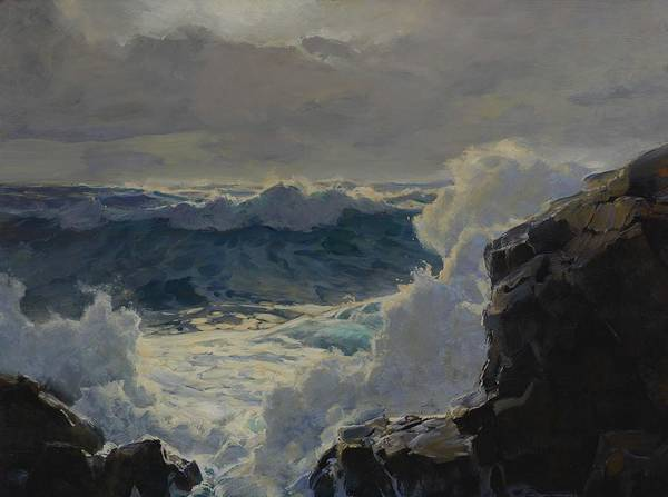 Wall Art - Painting - Frederick Judd Waugh, Breaking Waves Rocky Coast And Sea by Celestial Images