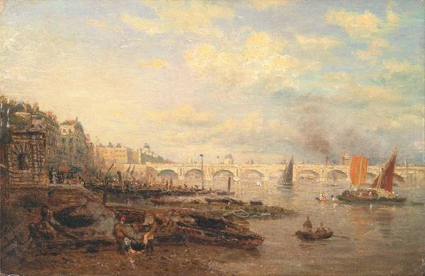Wall Art - Painting - Frederick Nash - The Thames And Waterloo Bridge From Somerset House by Frederick Nash