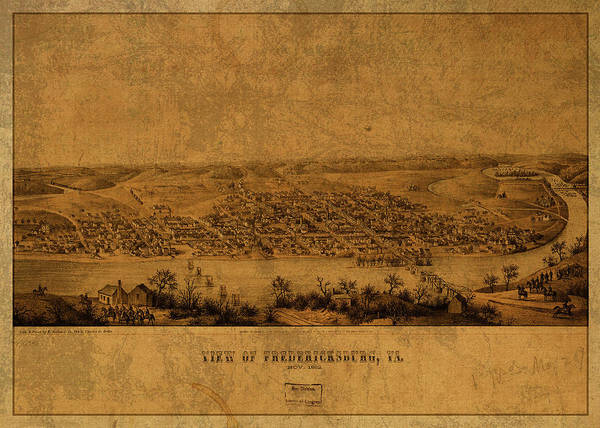 Fredericksburg Wall Art - Mixed Media - Fredericksburg Virginia Vintage City Street Map 1862 by Design Turnpike