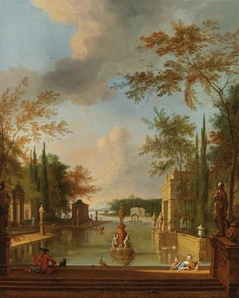 Wall Art - Painting - Frederik De Moucheron  Amsterdam 1633-1686  A Park Landscape With Musicians by Celestial Images