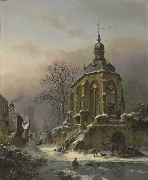 Wall Art - Painting - Frederik Marinus Kruseman  Dutch, 1816-1882 Figures At Work In A Winter Landscape, An Approaching S by Celestial Images