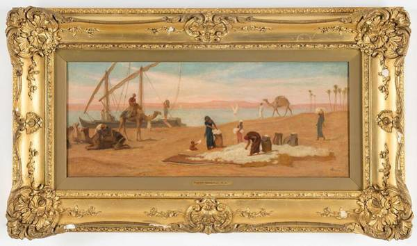 Wall Art - Painting - Fredrick Goodall , Alongside The Nile by Celestial Images