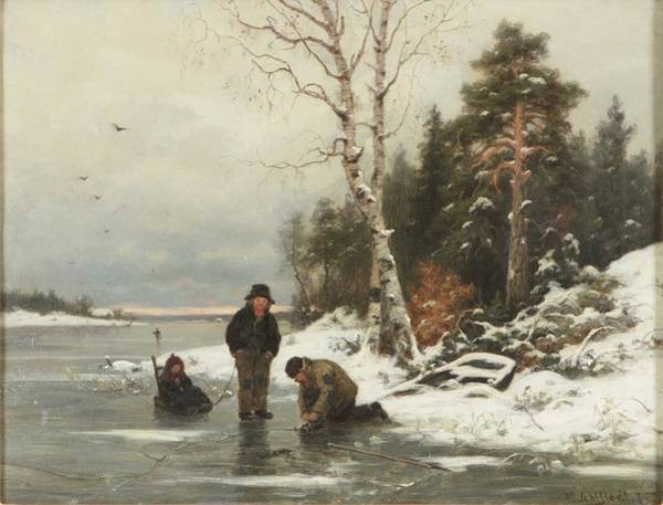 Wall Art - Painting - Fredrik Ahlstedt  1839-1901  Winter Landscape by Fredrik Ahlstedt