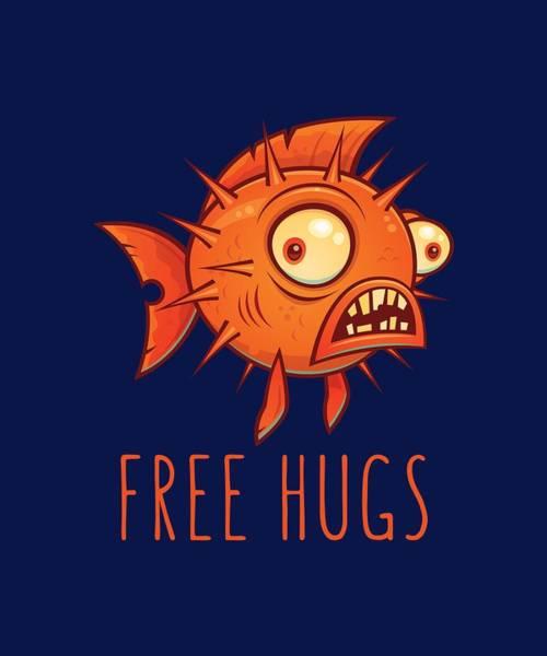 Wall Art - Digital Art - Free Hugs Cartoon Blowfish by John Schwegel