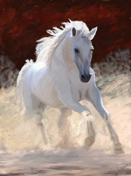 White Horse Digital Art - Free Spirit by James Shepherd