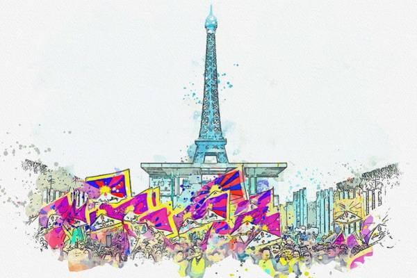 Painting - Free Tibet Demostration In Paris, France 2 -  Watercolor By Adam Asar by Adam Asar