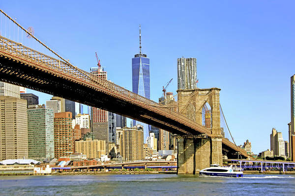 Wall Art - Photograph - Freedom Tower And Brooklyn Bridge by Geraldine Scull