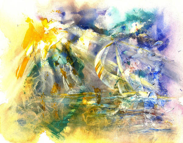 Impressionistic Sailboats Painting - Freedom's Light by Art by Carol May