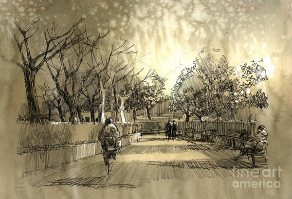 Wall Art - Digital Art - Freehand Sketch Of City Park by Tithi Luadthong