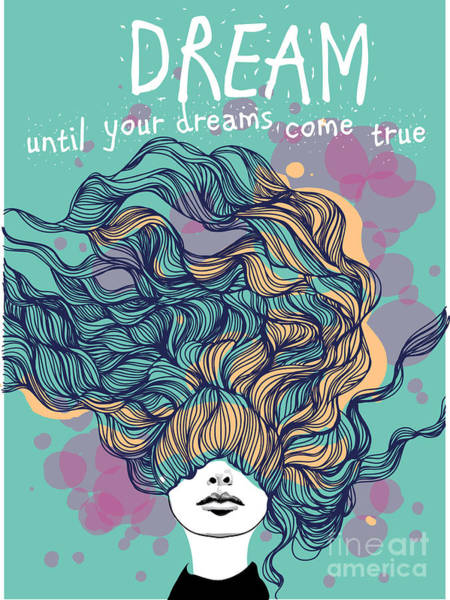 Wall Art - Digital Art - Freehand Vector Drawing - Dreaming Girl by Alisa Franz