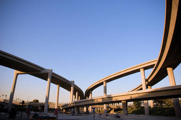 Merge Wall Art - Photograph - Freeway Interchange by P wei