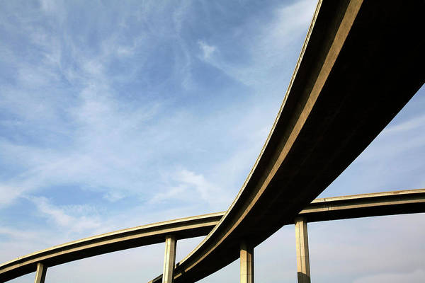 Merge Wall Art - Photograph - Freeway Span From Below View With The by P wei