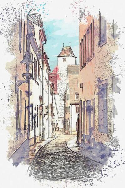 Painting - Freiberg Alley -  Watercolor By Ahmet Asar by Ahmet Asar