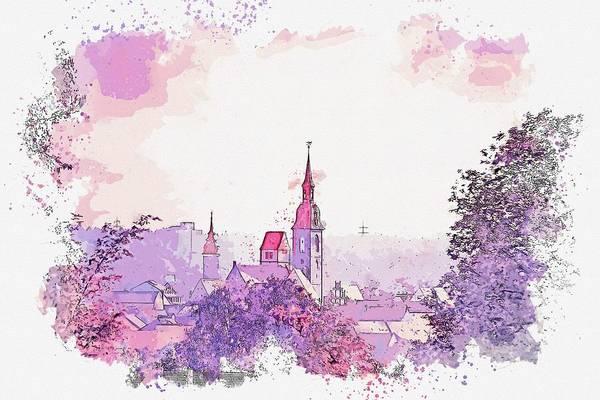 Painting - Freiberg Church Steeple -  Watercolor By Ahmet Asar by Ahmet Asar