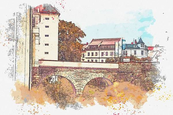 Painting - Freiberg -  Watercolor By Ahmet Asar by Ahmet Asar