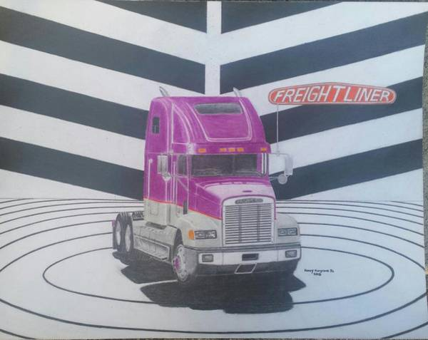 Semi Truck Drawing - Freightliner Fld 120 Conventional Tractor by Henry Hargrove Jr